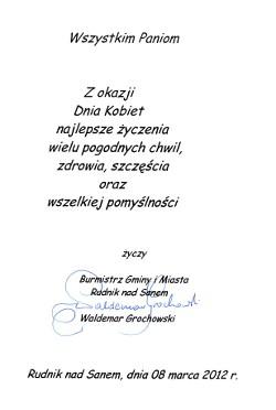 Marzec 2012 Klub Seniora W Rudniku Nad Sanem